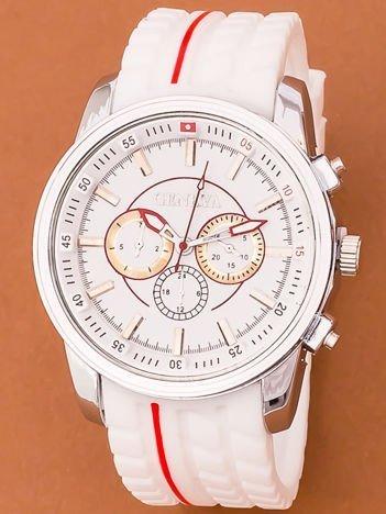 Zegarek męski stylizowany dla rajdowców biały