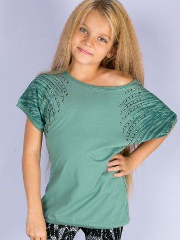 Zielona bawełniana bluzka dziewczęca z palmami