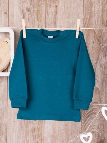 Zielona  bawełniana klasyczna bluzeczka niemowlęca z półgolfem  dla chłopca i dziewczynki