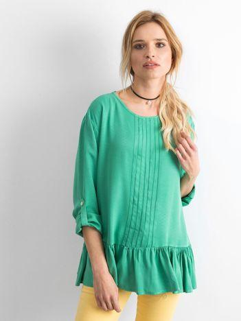 Zielona bluzka damska z falbaną