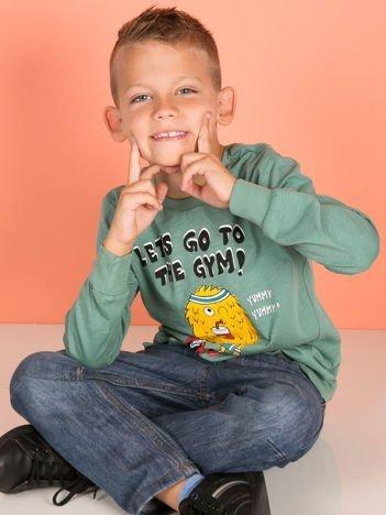 Zielona bluzka dla chłopca z bawełny