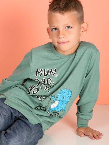 Zielona bluzka dla chłopca z komiksowym nadrukiem