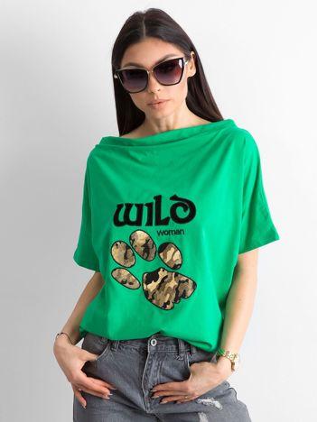 Zielona bluzka z motywem zwierzęcym