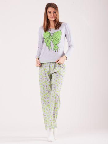 Zielona damska piżama z nadrukiem