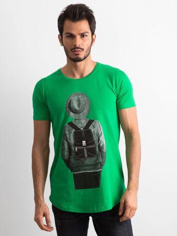 Zielona koszulka męska z nadrukiem