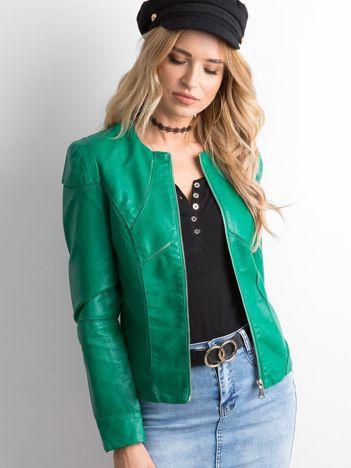 Zielona kurtka damska z imitacji skóry