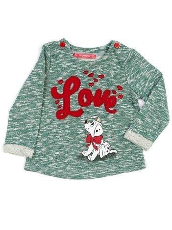 Zielona melanżowa bluza dziewczęca z napisem LOVE i psem