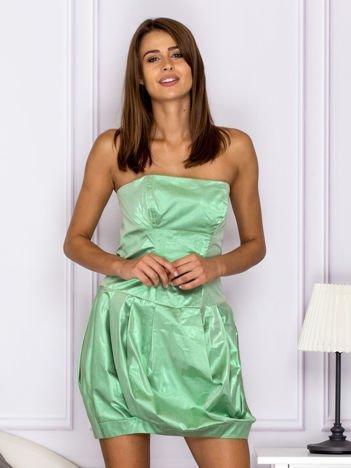Zielona sukienka bombka z połyskiem