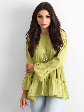 Zielona tunika damska z falbaną