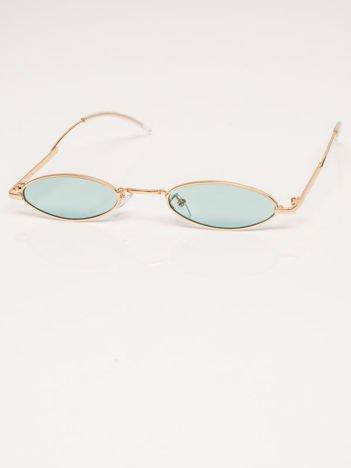 Zielone Metalowe Podłużne Okulary Unisex