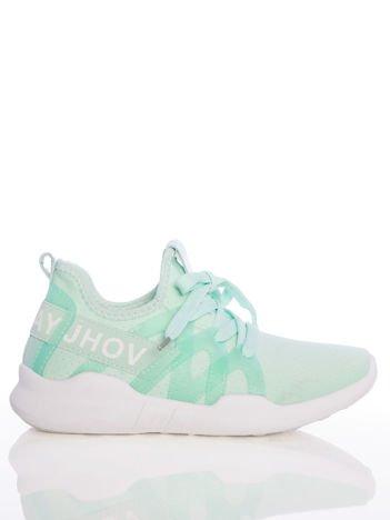 Zielone ażurowe buty sportowe Rue Paris z przezroczystymi szlufkami i białymi napisami