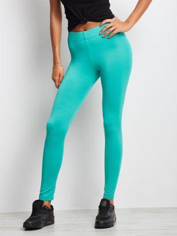 Zielone długie cienkie legginsy do biegania