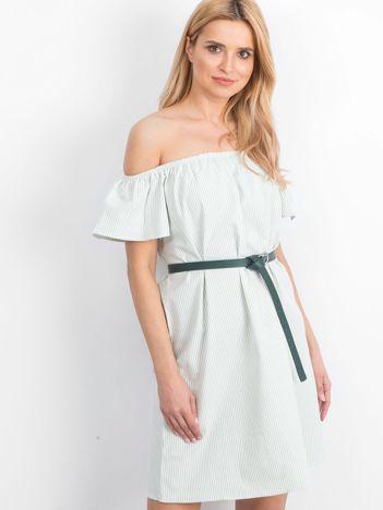 Zielono-biała sukienka Cannes