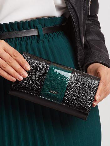 Zielono-czarny portfel lakierowany