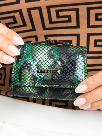 Zielony mały portfel skórzany