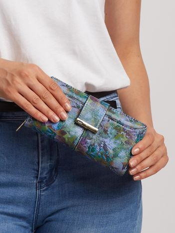 Zielony portfel w kwiaty
