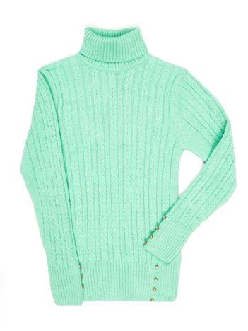 Zielony sweter dla dziewczynki z golfem