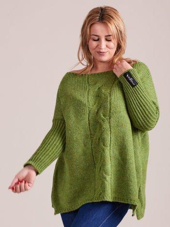 Zielony sweter oversize MAGPIE z szerokimi ściągaczami