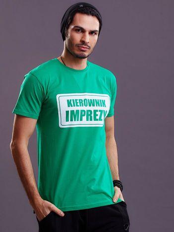 Zielony t-shirt męski KIEROWNIK IMPREZY