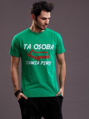 Zielony t-shirt męski z zabawnym napisem