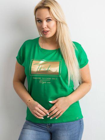 Zielony t-shirt z nadrukiem PLUS SIZE