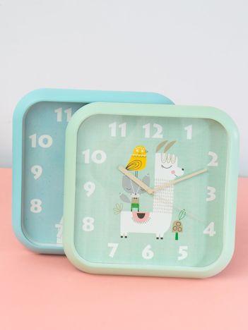 Zielony zegar na ścianę z motywem zwierzęcym