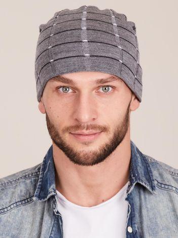 Zimowa męska czapka z dzianiny szara