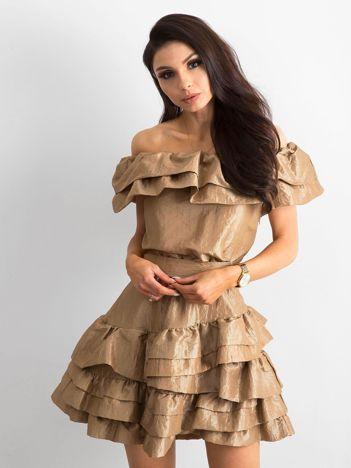 e9cb097a4b Złota sukienka z falbanami BY O LA LA