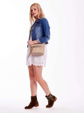 Złota torebka damska z plecionym modułem