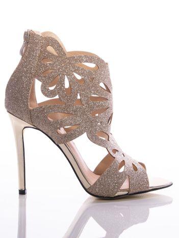 Złote brokatowe sandały na szpilkach z ozdobną ażurową cholewką