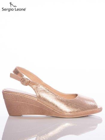 Złote sandały Sergio Leone zapinane na sprzączkę