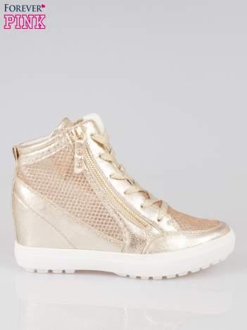 Złote sneakersy damskie z wężową siateczką Martina