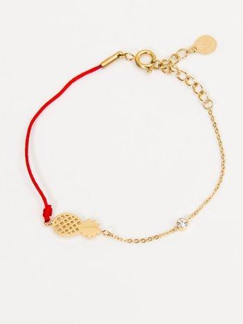 Złoto-czerwona damska bransoletka ANANAS z CYRKONIĄ z najlepszej jakości STALI CHIRURGICZNEJ 316L