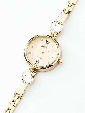 Złoty elegancki zegarek damski na bransolecie