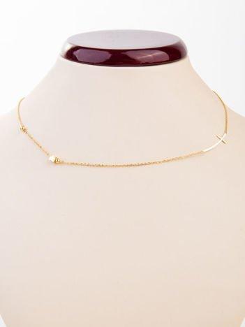 Złoty naszyjnik z krzyżem i sercem z najlepszej jakości STALI CHIRURGICZNEJ 316L