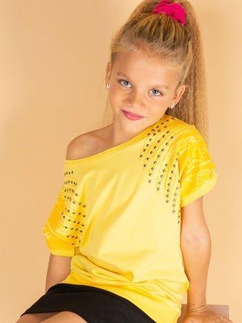 Żółta bawełniana bluzka dziewczęca z palmami