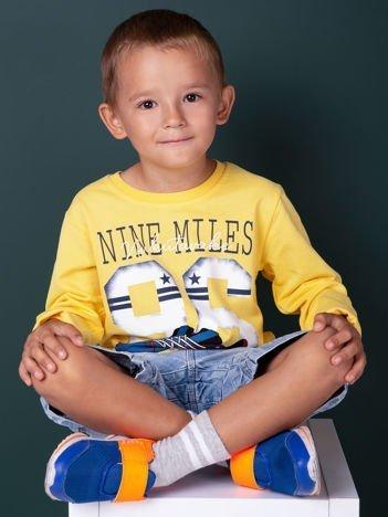 Żółta bluzka dla chłopca z printem