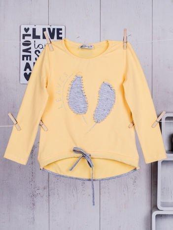 Żółta bluzka dla dziewczynki z listkami