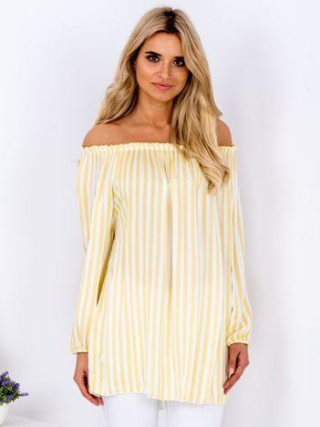 Żółta bluzka w paski z odkrytymi ramionami