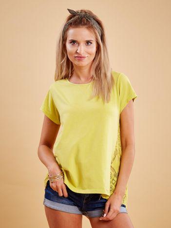 Żółta bluzka z koronkową wstawką na plecach