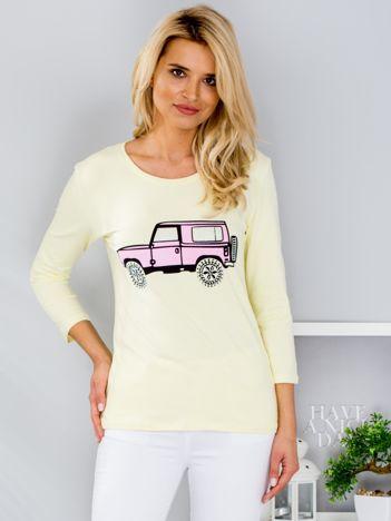 Żółta bluzka z samochodem