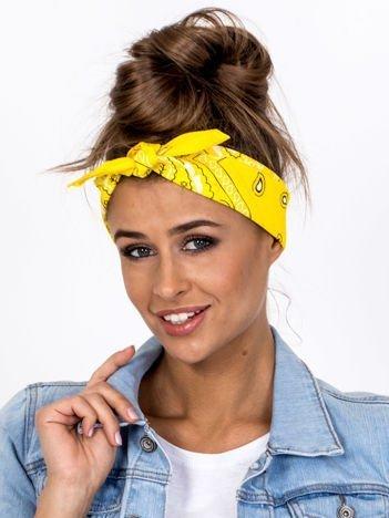 Żółta chustka bandanka na głowę ze wzorem paisley