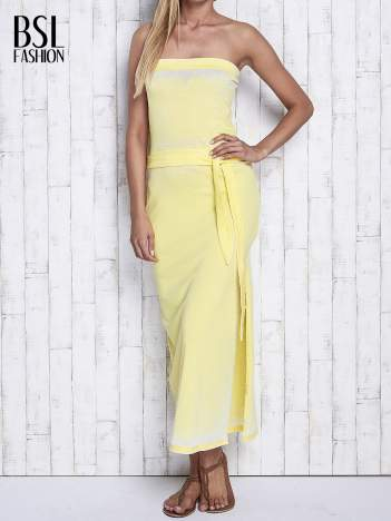 Żółta dekatyzowana sukienka maxi na gumkę