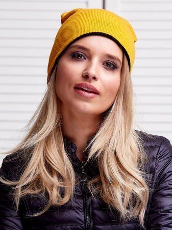 Żółta dwustronna czapka damska