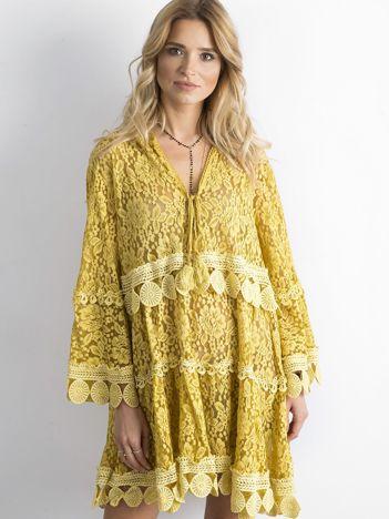 Żółta koronkowa sukienka