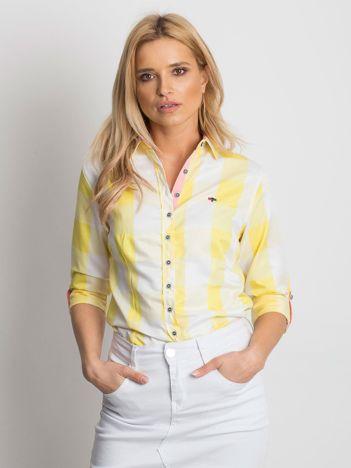Żółta koszula damska w kratę