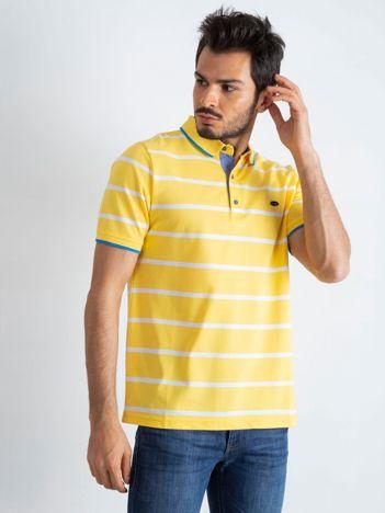 Żółta męska koszulka polo Throwback