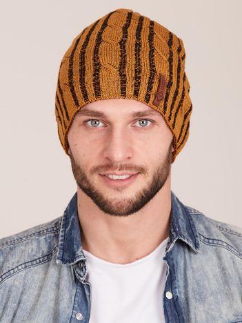 Żółta męska zimowa czapka w warkocze