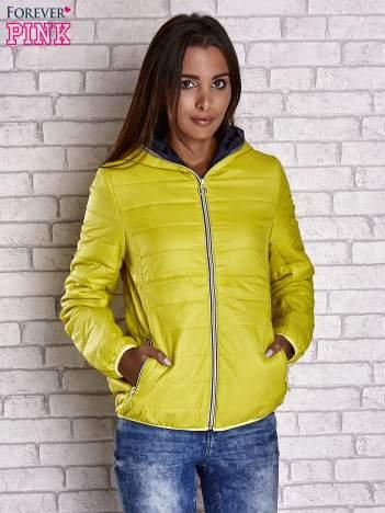Żółta ocieplana kurtka z kontrastowym wykończeniem kaptura