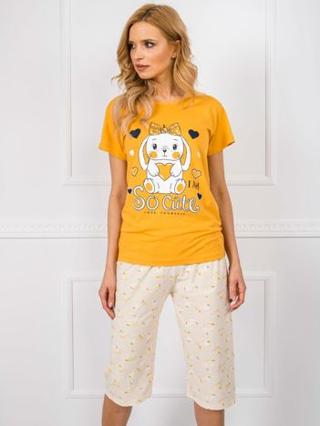 Żółta piżama damska z bawełny